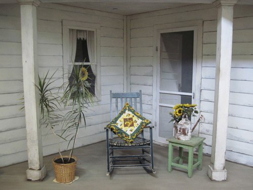 A front porch is built into the interior decor