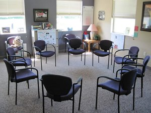 Group therapy room - Therapy may occur in individual or group room settings or alternate areas like the gym, garden or recreational play.
