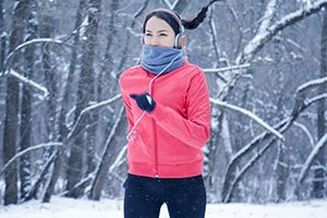 If exercising in cold weather, wear a face mask or scarf to help moisten the air you breathe in.