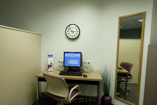 Speech Therapy Area - In speech therapy, patients relearn communication and cognitive skills using various devices. The mirror helps patients with self awareness exercise programs.