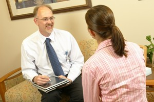 Dr. Tilstra visits with a genetics patient