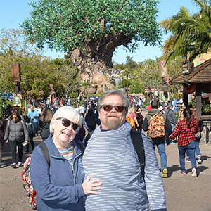 Alec and Polly take several trips each year to Disney properties. Walking around Animal Kingdom in Spring 2018 was easier for Alec after he had lost some weight following CentraCare's Weight Management program.