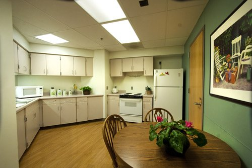 Kitchen - A fully functional kitchen with fridge, oven, microwave and toaster helps identify needs or modifications that can be made to help patients live more independently when they return home.