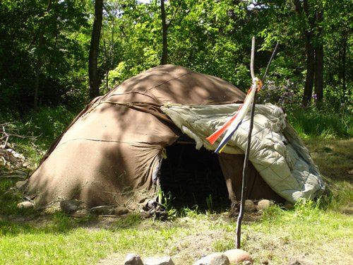 "A Native American sweat lodge, located on the premises, hosts one or two ""sweats"" each month. A shorter sweat (""one door"") is available for children to experience this traditional purification ceremony."