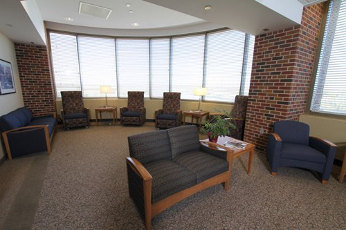 Family lounge - The unit has two family lounges which are available to patients and their families to provide a place to gather. A computer with internet is available as well as refreshments, comfortable seating and a television. The larger family lounge has an impressive view of the Mississippi River.