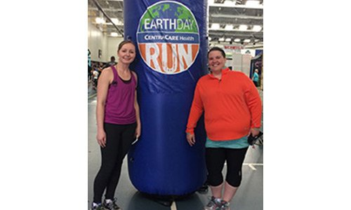Kelsey King, APRN, CNP, and Kristy Peterfeso, APRN, CNP, celebrate health while participating in the Earth Day Run.
