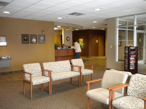 The Sleep Center reception desk is warm and inviting.