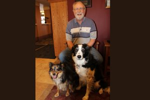 Michael T. brings dogs Takota & Meeka to the Care Center every Thursday to visit with residents and patients.