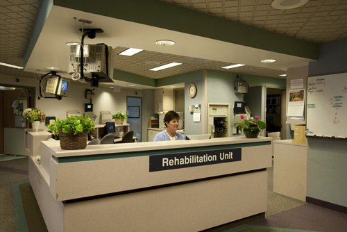 Main Nurses' Station - Staffed 24-hours a day, nurses monitor the hallways and entrance of the unit to ensure patient safety.